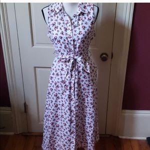 NWOT Cynthia Ridley midi Floral linen shirt dress